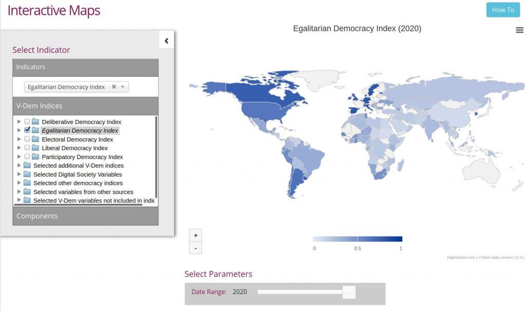 Egalitäre Demokratien weltweit 2020 (von V-dem)